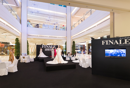 finale: BANGKOK - MARCH 17, 2016: A view at the Finale wedding studio in the Siam Paragon Shopping mall. It is one of the biggest shopping centres in Asia.