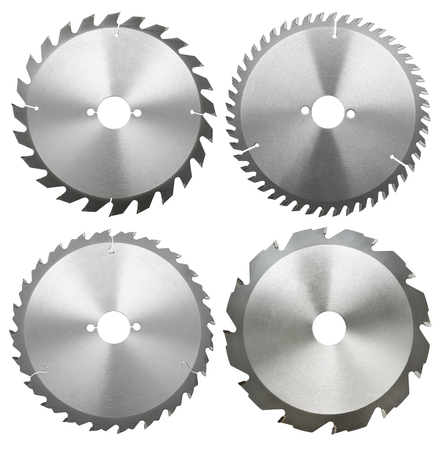 blades: circilar saw blades for wood work, isolated Stock Photo
