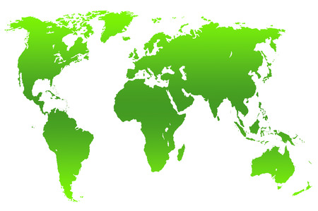green gradient worlds map, isolated over white