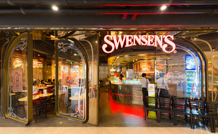 paragon: BANGKOK - MARCH 17, 2016: Swensens restaurant in the Siam Paragon Shopping mall. Swensens is a global chain of ice cream restaurants that started in San Francisco, California, in 1948.