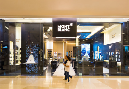 paragon: BANGKOK - MARCH 17, 2016: Mont Blanc store at the Siam Paragon mall. Mont Blanc International GmbH is a German manufacturer of luxury writing instruments, watches, jewellery and leather goods.