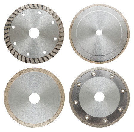 stainless steal: circilar saw blades for and metal work, isolated Stock Photo