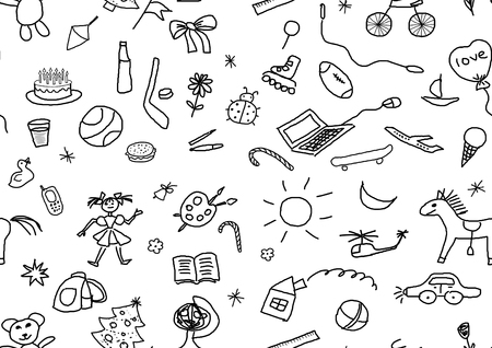 child's: set of various childs drawings over white, seamless pattern