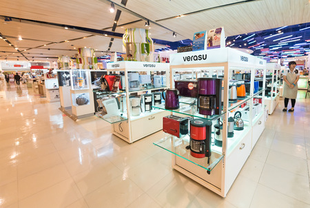 retail store: BANGKOK - MARCH 17, 2016: Various kitchen appliances at a household store in Siam Paragon Mall. It is one of the biggest shopping centres in Asia. Editorial