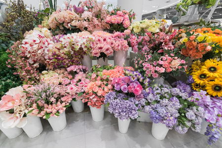 lots of various flowers in flower shop in Thailand