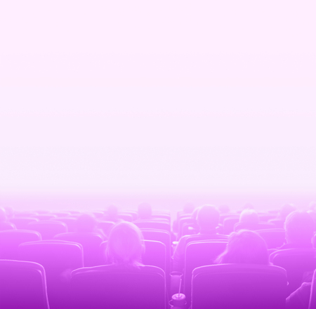 motion picture: viewers watch motion picture at movie theatre, pink toning white space