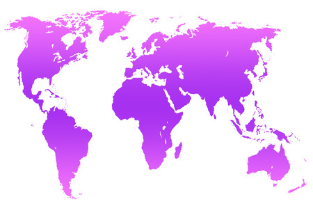 violet magenta gradient worlds map, isolated over white Stock Photo