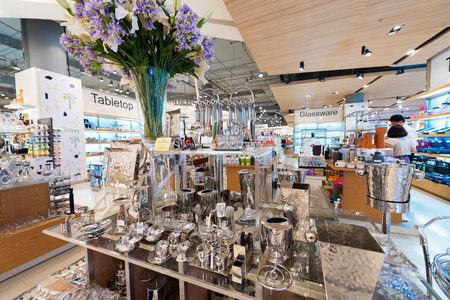 luxury goods: BANGKOK - MARCH 17, 2016: Various metal utensils at a store of home goods in the Siam Paragon Mall. It is one of the biggest shopping centres in Asia.