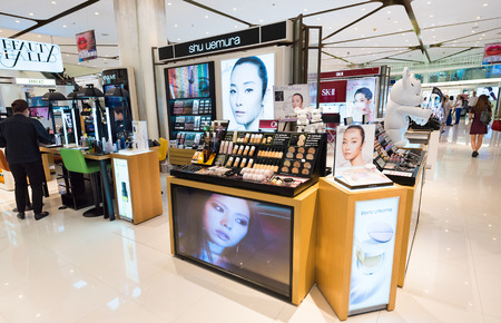 shu: BANGKOK - MARCH 17, 2016: Shu Uemura showcase in Siam Paragon mall. The Japanese cosmetics brand operates stores throughout the world and takes in an annual revenue of more than $100 Million.