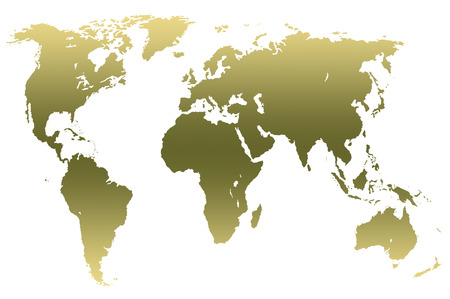 khaki green gradient worlds map, isolated over white