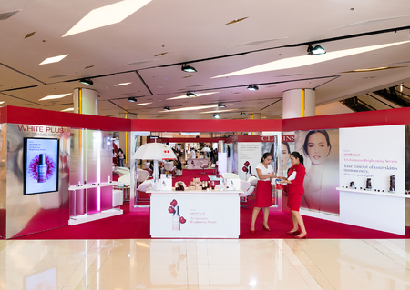 prestige: BANGKOK - MARCH 17, 2016: Clarins store in Siam Paragon shopping mall. Clarins Group is a French luxury cosmetics company, which manufactures worldwide prestige skincare, cosmetics and fragrances. Editorial