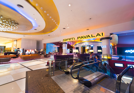 paragon: BANGKOK - MARCH 17, 2016: The Siam Pavalai Cinema, which means The Heaven of God of Siam, in the Siam Paragon shopping mall in Bangkok, Thailand, has a 24m screen in its largest auditorium. Editorial