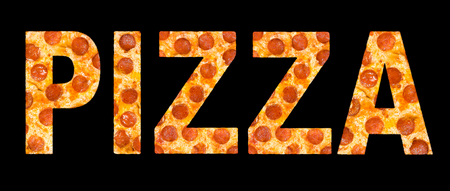 chr: word pizza made of pizza with peperoni, isolated over black