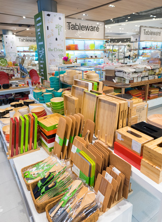paragon: BANGKOK - MARCH 17, 2016: Various dishes and other utensils made of bamboo and coconut at a store of home goods in the Siam Paragon Mall. It is one of the biggest shopping centers in Asia. Editorial
