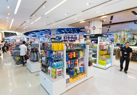 BANGKOK - MARCH 17, 2016: Various goods for car care and accessories at the Power Mall in the Siam Paragon Mall. It is one of the biggest shopping centers in Asia.