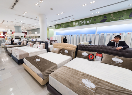BANGKOK - MARCH 17, 2016: Various mattresses and pillows at a store of home goods in the Siam Paragon Mall, of the biggest shopping centres in Asia.