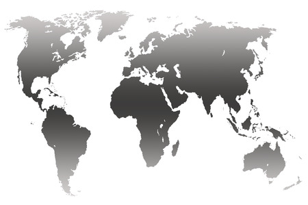 approximate: grey gradient worlds map, isolated over black Stock Photo
