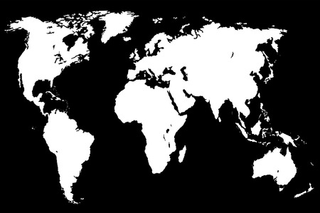 approximate: white gradient worlds map, isolated over black Stock Photo