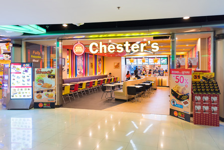 quick snack: BANGKOK - MARCH 16, 2016: A view of the Chesters restaurant in the MBK Center, a large shopping mall. Bangkok is one of the worlds top tourist destination cities.