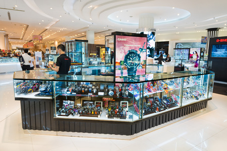 paragon: BANGKOK - MARCH 17, 2016: A Casio shop in Siam Paragon shopping mall. Casio Computer Co., Ltd. is a multinational electronics manufacturing company headquartered in Shibuya, Tokyo, Japan.