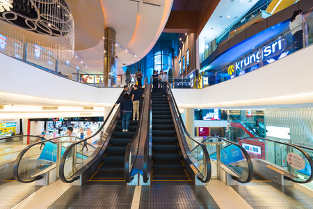 paragon: BANGKOK - MARCH 17, 2016: A view of Krungsri IMAX Theater (Paragon Cineplex) in the Siam Paragon shopping mall. With 16 screens and 5,000 seats, the Cineplex is Thailands largest movie theater.