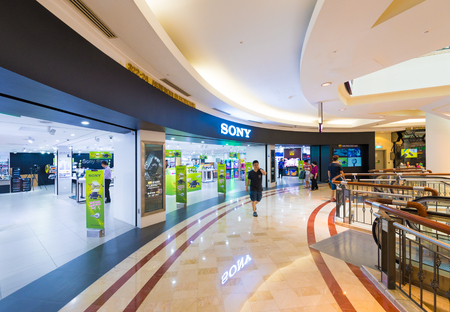 diversified: KUALA LUMPUR - JUNE 15, 2016: The Sony store in the Suria KLCC mall. The diversified business of Sony includes consumer and professional electronics, gaming, entertainment and financial services.
