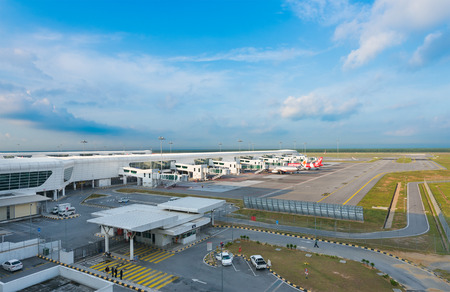 airstrip: KUALA LUMPUR - JUNE 14, 2016: A view at the terminals of the Kuala Lumpur Airport 2. KLIA 2 is the low cost carrier terminal at Kuala Lumpur International Airport. Editorial