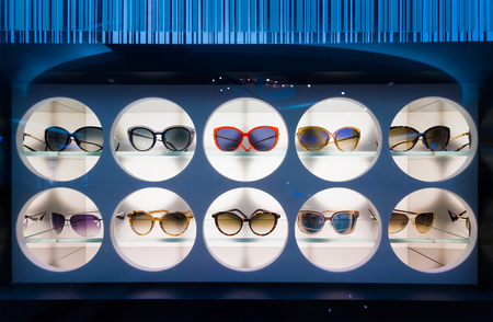 KUALA LUMPUR - JUNE 15, 2016: Louis Vuitton sunglasses in a showcase at the Suria KLCC shopping mall. For years 2006–2012 LV was named the worlds most valuable luxury brand.