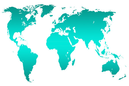 turquoise gradient worlds map, isolated over black Stock Photo