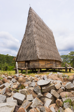 communal: Bahnar and Giarai (ethnic minority groups in Vietnam) build rongs - towering communal houses that sit at the heart of every village. They are used as community centers. Editorial