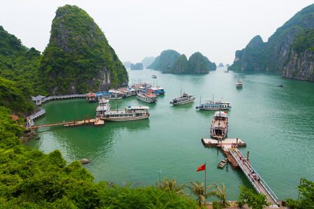 HA LONG, VIETNAM - AUGUST 13, 2016: Ha Long Bay is a UNESCO World Heritage Site and popular travel destination in Quang Ninh Province.