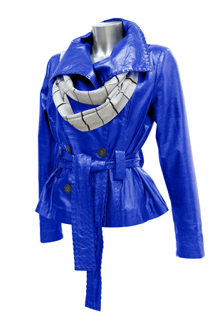 blue leather ladies jacket with scarf, isolated, clipping path