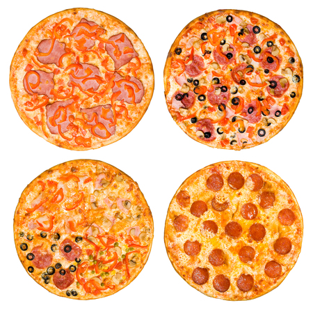 four different pizzas in one set, top view, isolated on white Stock Photo