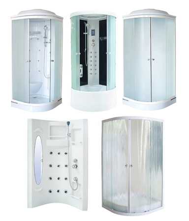 shower cubicle: set of new shower cabins, isolated on white