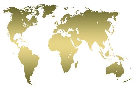 khaki gradient worlds map, isolated on white