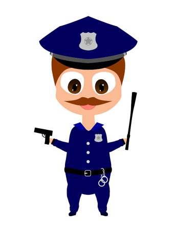 gun control: Happy smiling cartoon policeman with gun and baton