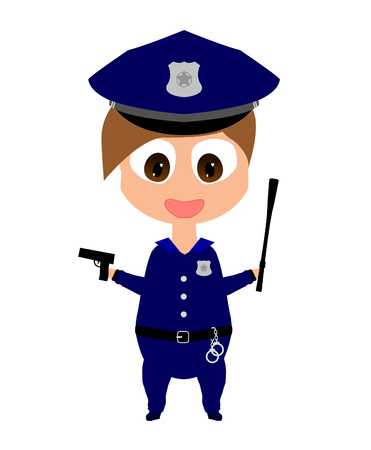 Happy smiling cartoon policewoman with gun and baton Illustration