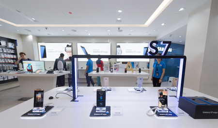 marketed: KUALA LUMPUR - SEPTEMBER 13, 2016: Samsung Galaxy S7 Edge phones for sale in the Suria KLCC mall. They are Android smartphones manufactured and marketed by Samsung Electronics.