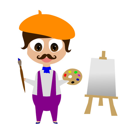 Happy smiling cartoon painter with brush, palette and easel; made using vector graphics Illustration