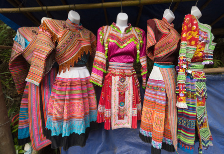 Hmong national dresses, northern Vietnam. The Hmong are an ethnic group from the mountainous regions of China, Vietnam, Laos, and Thailand.