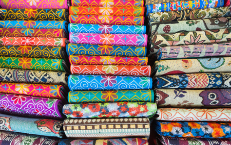 embroidered: many colourful embroidered wallets for sale, northern Vietnam