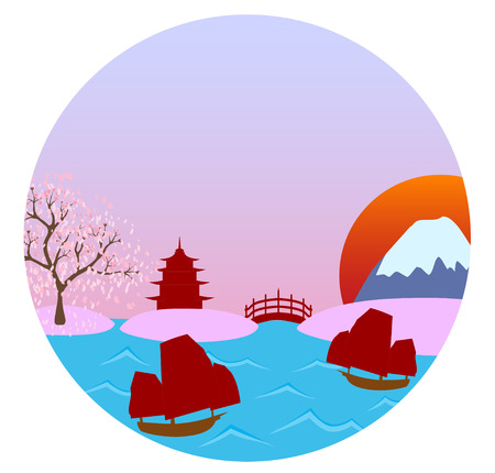 Beutiful landscape view of famous Japanese landmarks put in a round circle shape; made using vector graphics