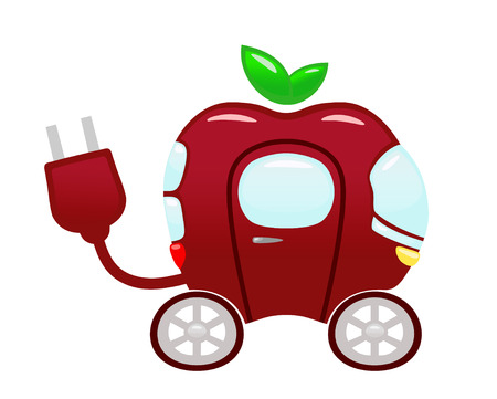 An illustration of a futuristic car made from a red apple; computer graphics
