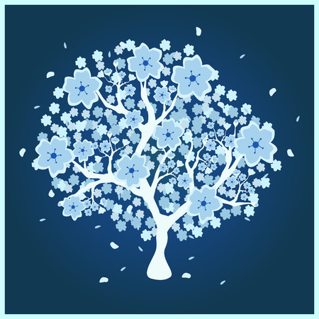 hoarfrost: Beautiful blossom blue tree on dark blue background; made using computer graphics