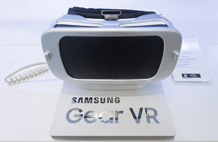 samsung: KUALA LUMPUR - SEPT. 13, 2016: Samsung Gear VR in the Suria KLCC mall. It is a mobile virtual reality headset developed by Samsung Electronics, in collaboration with Oculus, manufactured by Samsung. Editorial