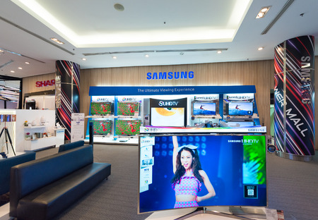 samsung: BANGKOK - MARCH 17, 2016: Samsung store in the Siam Paragon Shopping mall. Samsung Electronics Co., Ltd. is the worlds second largest information technology company by revenue, after Apple.