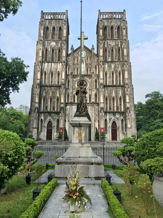 neo gothic: St. Josephs Cathedral is a church on Nha Tho (Church) Street in the Hoan Kiem District of Hanoi, Vietnam. Its a late 19th century Gothic Revival (Neo Gothic style) church that serves as the cathedral of the Roman Catholic Archdiocese of Hanoi to nearly 4