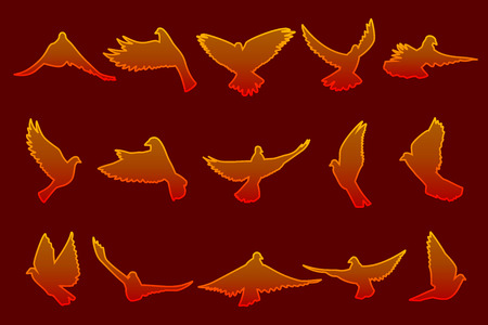 Set of flying fire red doves isolated on dark red background; made using computer graphics