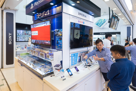 yat: KUALA LUMPUR - MARCH 13, 2017: A Sony store in Plaza Low Yat. Sony Corporation (Japan) is one of the leading manufacturers of electronic products for the consumer and professional markets.