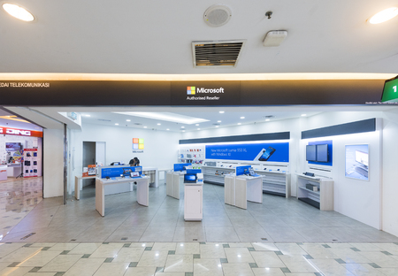 yat: KUALA LUMPUR - MARCH 13, 2017: A Microsoft authorized reseller in Low Yat Plaza. As of 2016, Microsoft Corporation was the worlds largest software maker by revenue. Editorial